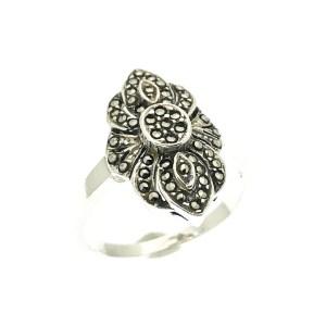 zilveren vintage ring met markasiet