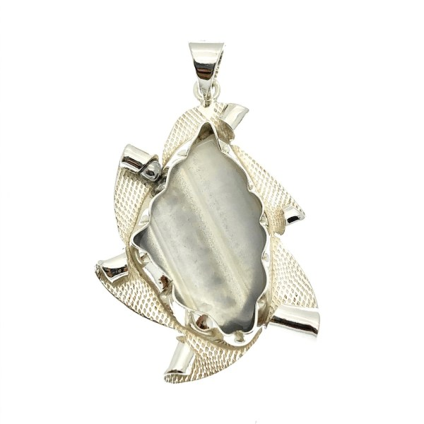 zilveren hanger grijze agaat
