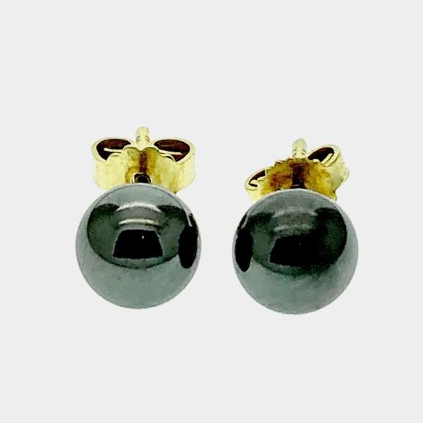 gouden oorstekers met hematiet