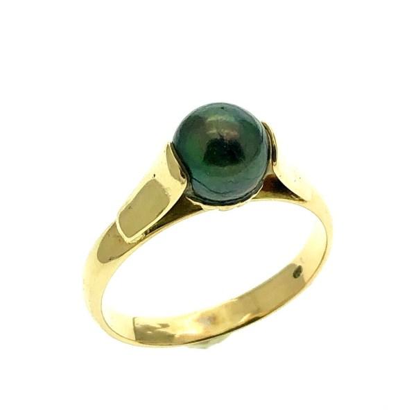 gouden ring zwarte parel