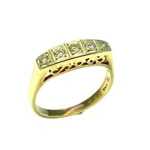 gouden rijring art nouveau met diamant