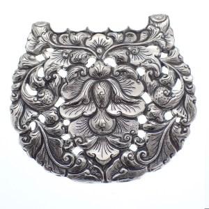 zilveren grote broche barok