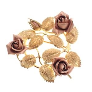 bicolor gouden broche van rozen