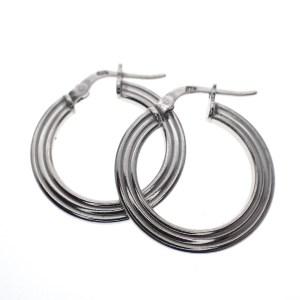 zilveren creolen met lijnen