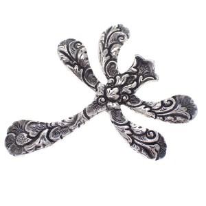 zilveren broche libelle barok vintage