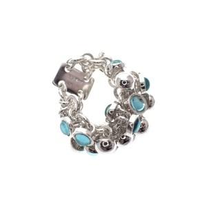 zilveren schakel ring met bedeltjes blauw