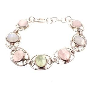 Zilveren armband met edelstenen rozekwarts maansteen prasioliet