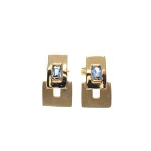gouden oorstekers aquamatrijn gematteerd