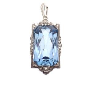 zilveren vintage hanger blauwe edelsteen