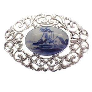 vintage broche barok delfts blauw zilveren