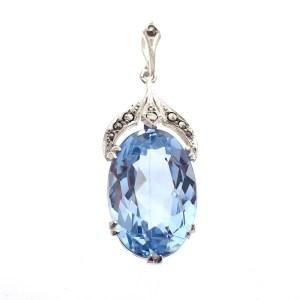 zilveren hanger blauwe steen vintage