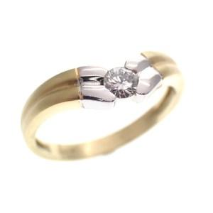 bicolor gouden ring gematteerd met diamant