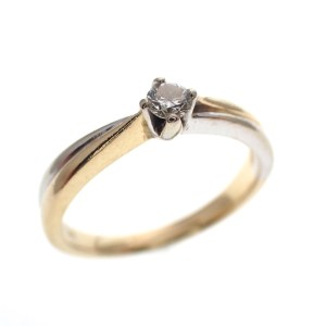 bicolor gouden solitair ring diamant