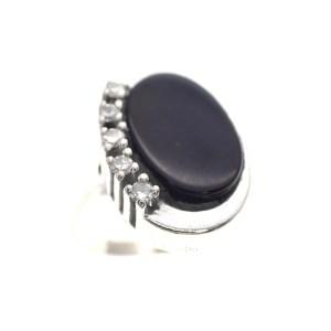witgouden ring onyx en diamant