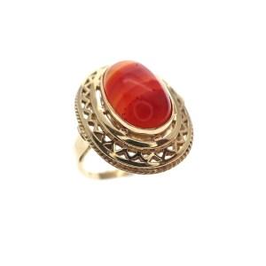 Gouden ring met agaat vintage