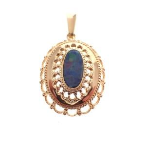 vintage gouden hanger met opaal