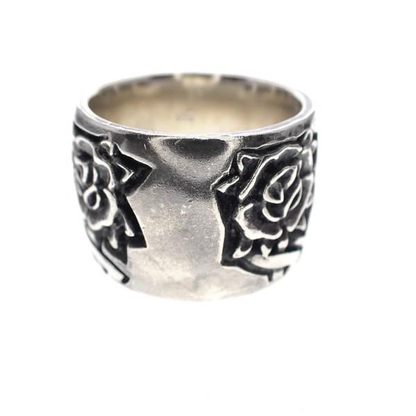 zilveren brede ring met rozen