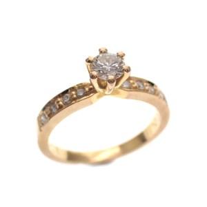 gouden solitair ring diamanten