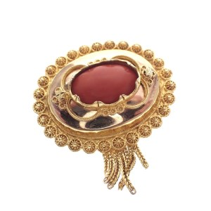 gouden antieke broche met filigrain en bloedkoraal