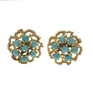 gouden oorknoppen bloem met turquoise