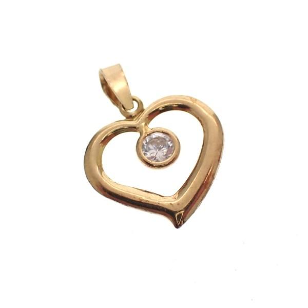 gouden hanger hartje met steen