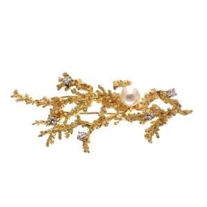 Gouden koraal broche