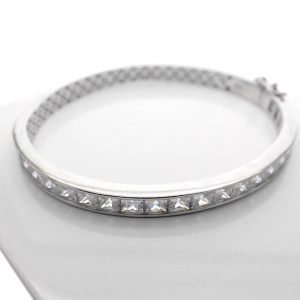 Zilveren slaven armband met steentjes