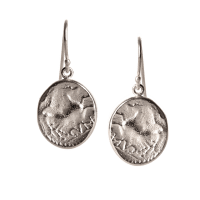 SILVER EARRINGS MADE OF AN ANTIQUE COIN BY CHEVALIER ...