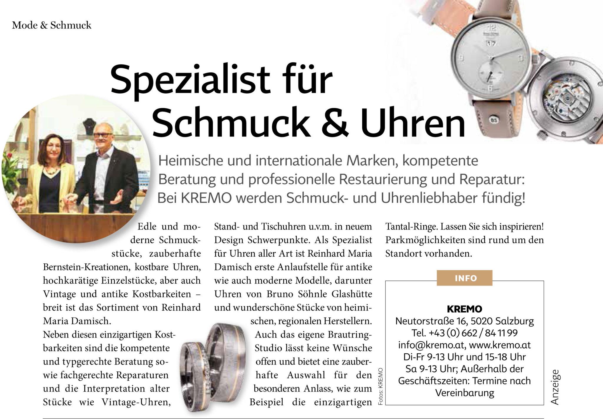 """Mode & Schmuck KREMO in der Zeitschrift """"Salzburgerin"""""""