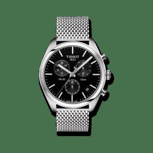 Tissot PR 100 Chronograph Gent Herrenuhr mit schwarzem Zifferblatt und Edelstahlarmband.Tissot PR 100 Chronograph. Swiss-made-Quartzwerk. . T-Classic