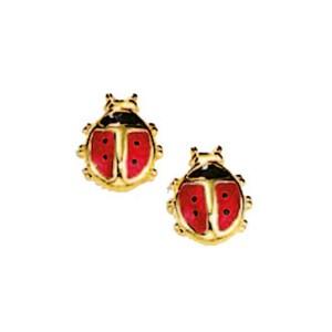 Ohrstecker Marienkäfer Email rot schwarz Gelbgold 585er