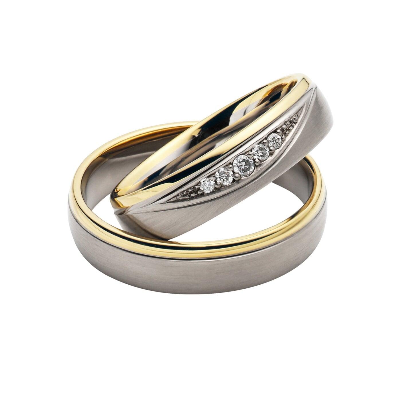 Juwelier Kraemer Trauring Diamant 333  Palladium 585