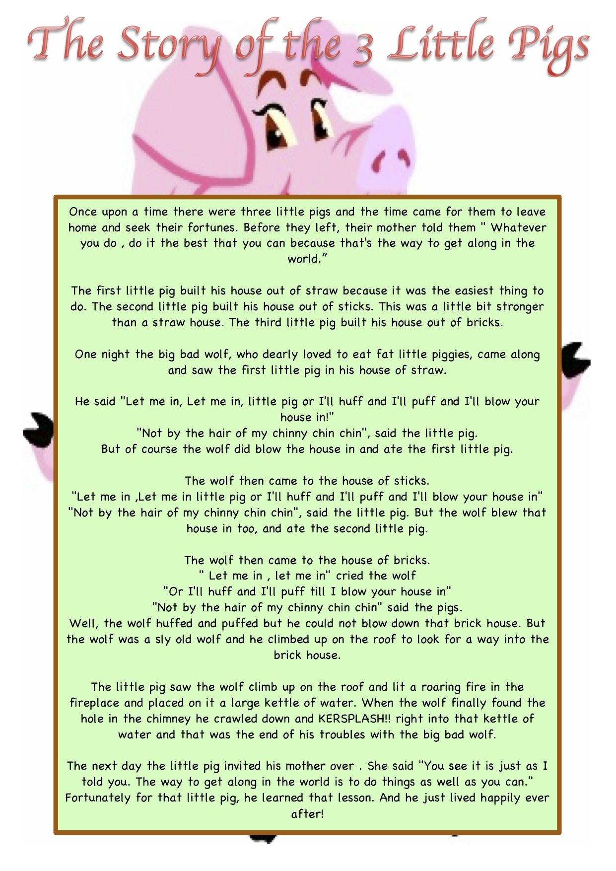 Printable Story Of The Three Little Pigs Pursued A