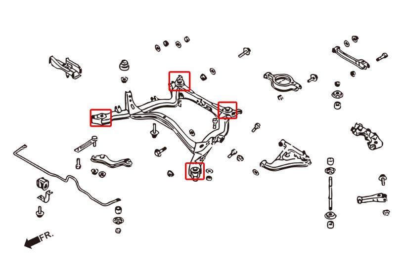 Nissan S13/S14/S15/Skyline Rear Subframe Bushings Hardrace