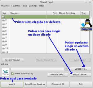 Primera pantalla VeraCrypt