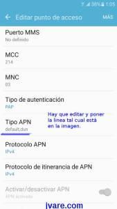 tipo-apn para compartir datos del móvil con pc y navegar