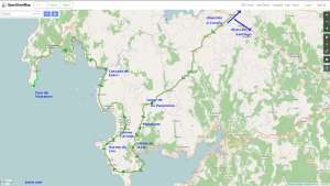 Mapa de la ruta de los grandes hórreos