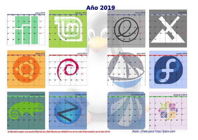 Calendario linuxero de 2019