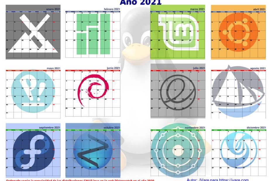 Calendario linuxero de 2021