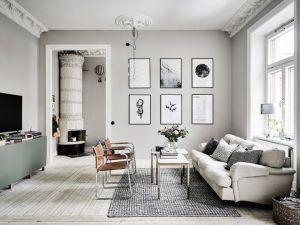 sala color gris con blanco