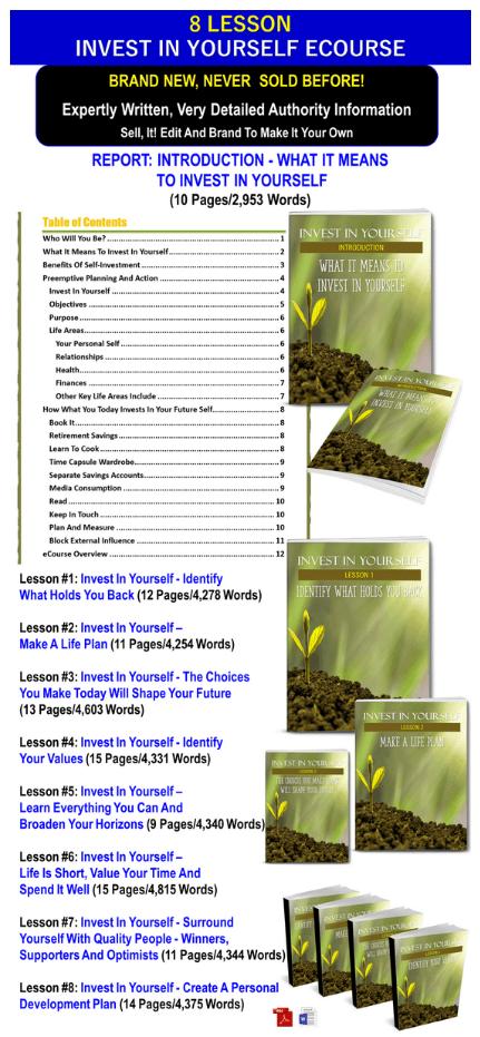 Invest In Yourself PLR Pack By JR Lang Review