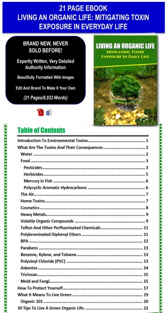 Living An Organic Life: Mitigating Toxin Exposure In Everyday Life PLR Pack By JR Lang Review