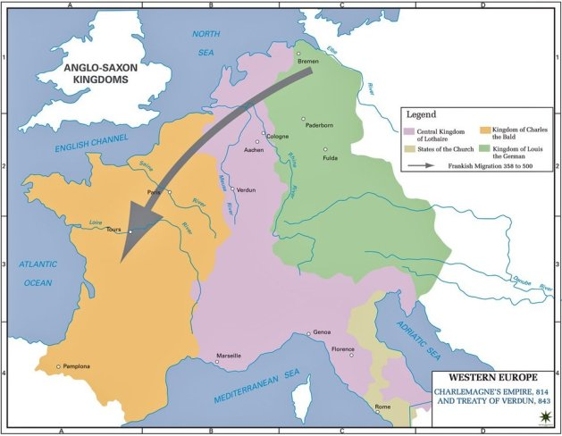 Frankish Empire and Treaty of Verdun AD 843