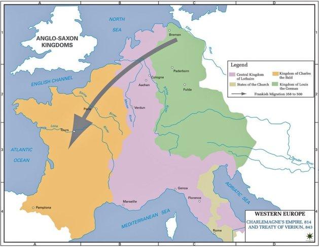 Frankish Empire and Treaty of Verdun AD 843