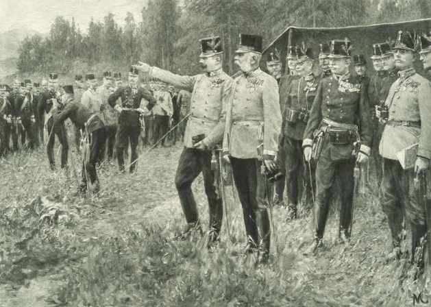 Franz Joseph and Franz Ferdinand at manoeuvres in 1908
