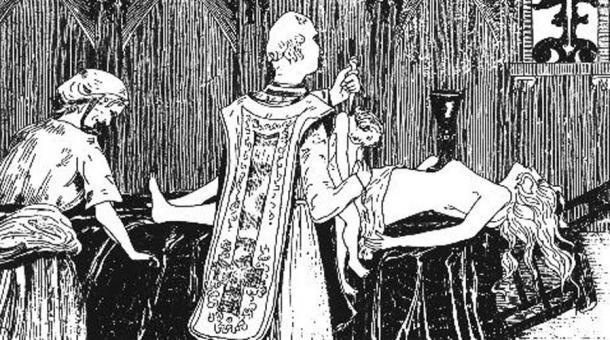 Catherine Monvoisin and the priest Étienne Guibourg performing a Black-Mass on the mistress of King Louis XIV of France, Madame de Montespan - by Henry de Malvost, 1895