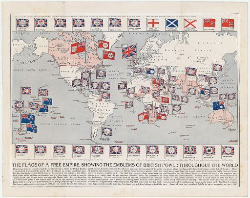 Map of colonial empires throughout the world in 1914
