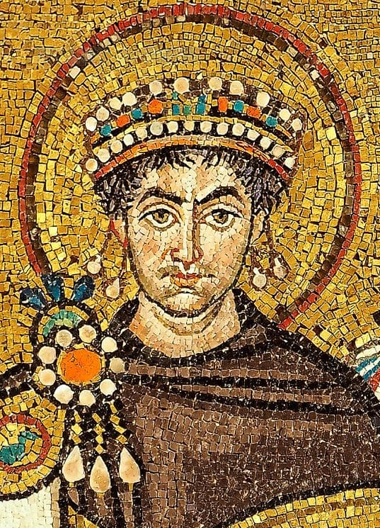 Mosaic of Justinianus I in the Basilica San Vitale (Ravenna)