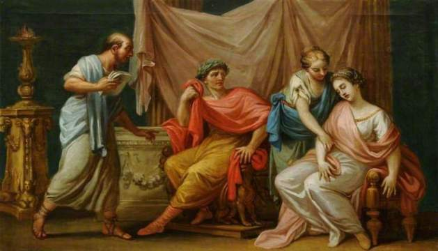 Virgil Reading the Aeneid to the Emperor Augustus, His Wife Livia and His Fainting Sister Octavia -  Antonio Zucchi