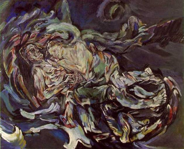 "'Bride of the Wind"" by Oskar Kokoschka,a self portrait expressing his unrequited love for Alma Mahler (widow of composer Gustav Mahler) 1913"